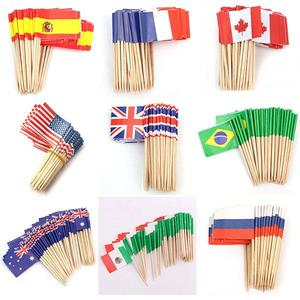 Flags Snack Wooden Bamboo Cocktail Fruit Picks