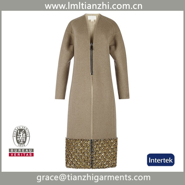 2015 Newest crystal sequined wool coats embroidered coat , slim fit wool coats