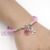 2017 New Arrival Cheap Breast Cancer Awareness Jewelry Pink Crystal Charm Hope Ribbon Cancer Bracelet for Breast Cancer Compaign