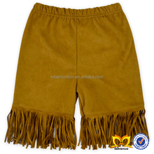 China 2016 New Products Brown Medium Length Girl Pants Imitation Suede With Beard Fashion Kids Hot Pants