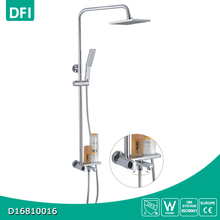 Surface mounted square rainfall shower head faucet steam shower