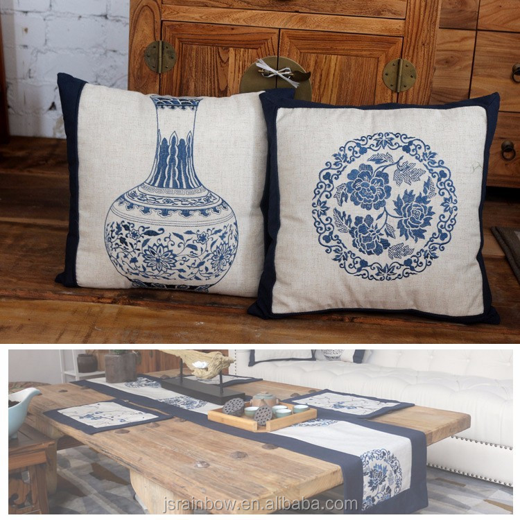 Hot sale linen sofa chair cushion cover hand embroidery design pillow case pillow cover Series Home Textile