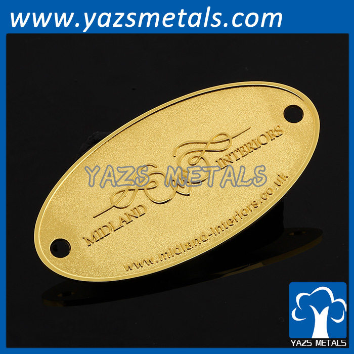 Custom metal furniture luggage bag parts label 2 hole metal tag