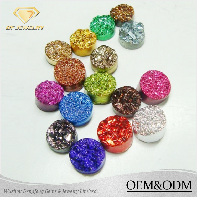 New Wholesale Round Shape Colorful Druzy Semi-Precious Stone