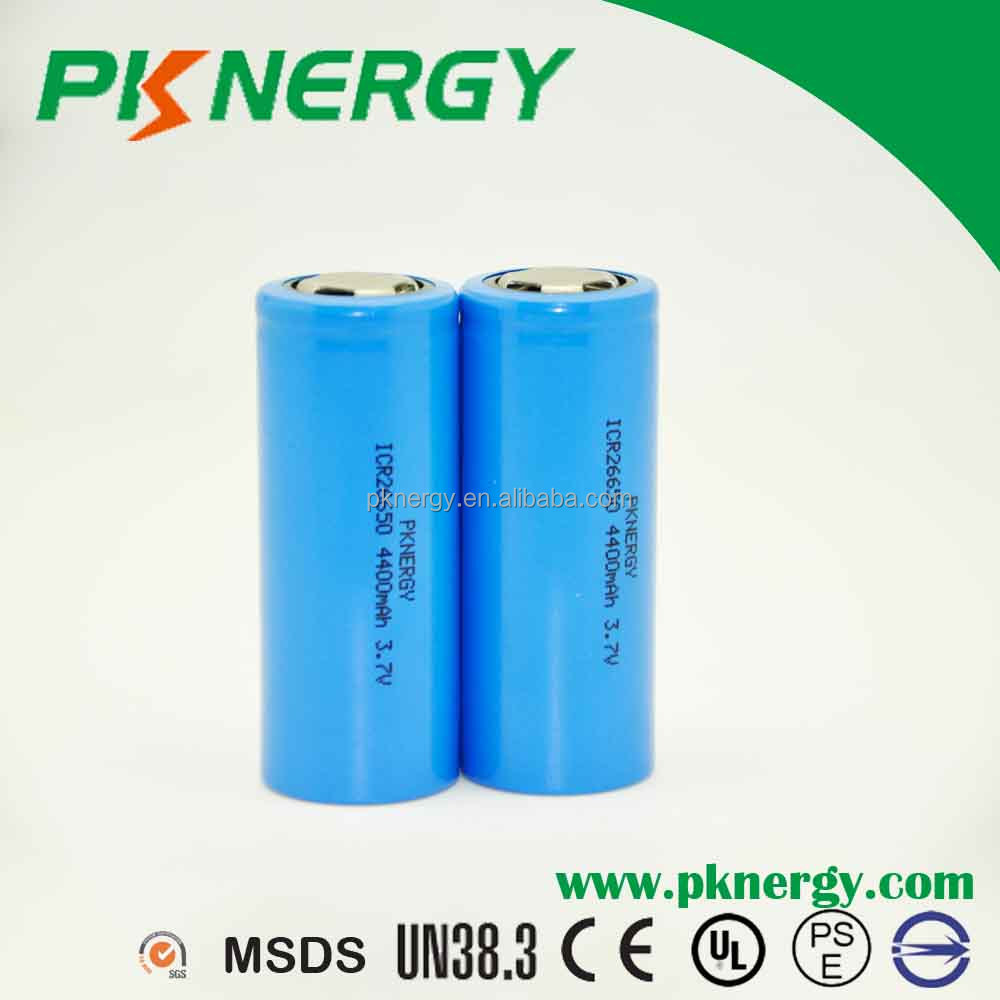 li-ion battery 26650 4400mah 3.7v rechargeable lifepo4 lithium ion batteries