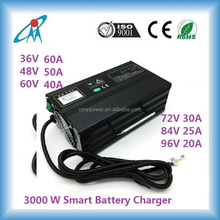 Hot sell! 12V/24V/36V/48V/60V 3000W Lead Acid Lithium ion EV Battery charger with PFC