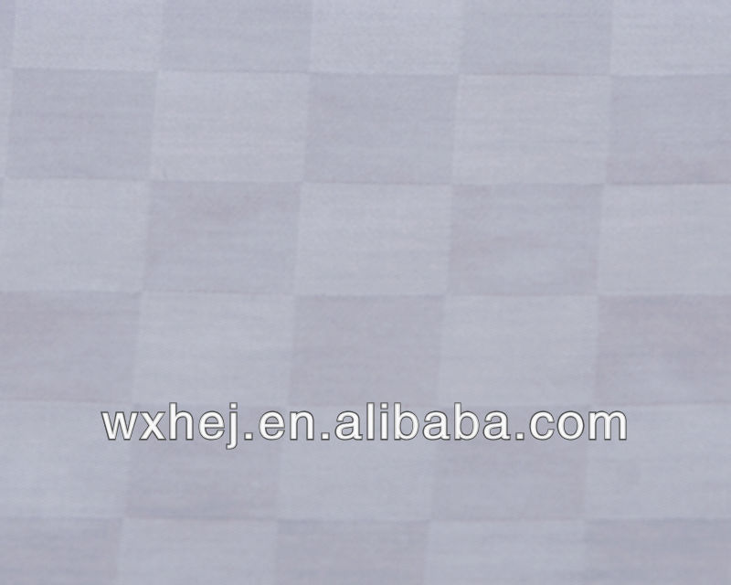 WHITE SATEEN DOBBY CHECK POLY COTTON BED SHEET FABRIC