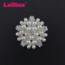 Fashion Big Crystal Jewelry Rhinestone Button/Brooch With Pearl for Wedding/Party Decoration