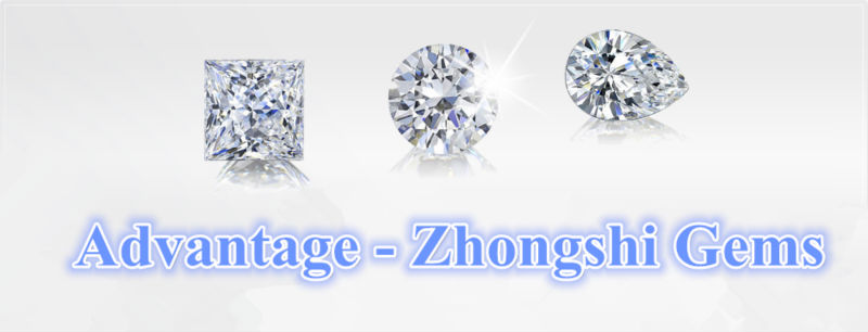 China round brilliant cut white cz stone