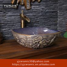 hand carved 3D birds and lotus Bathroom Basin Art Chinese porcelain sink