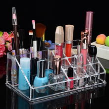 Custom Acrylic Clear Lipstick Cosmetic Makeup Display Stand Woman Using