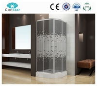 Turkish market low tray iron frame stong support clear glass shower screen with cheap price