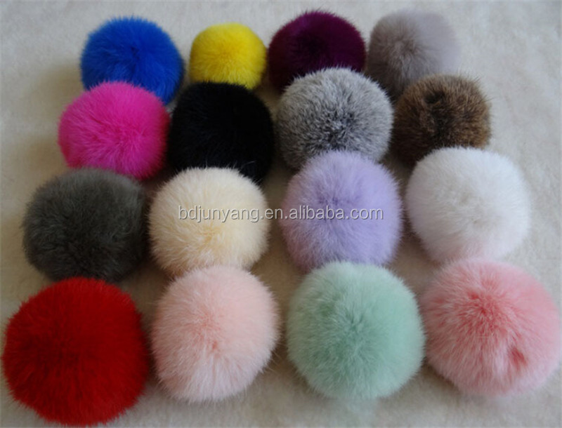 Many colors fluffy fur ball key ring girls sex bag accessories rabbit fur pom