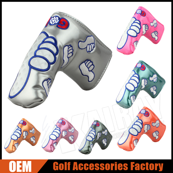 Customize Thumb Embroidery Glossy Leather Golf Putter Head Covers
