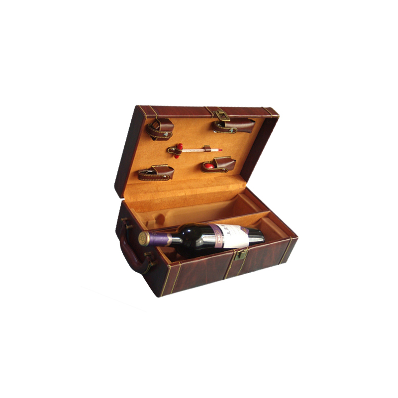 Portable Pu Leather Box For Two Wine Bottles,Rustic Wine Box,Premium Wooden Wine Box