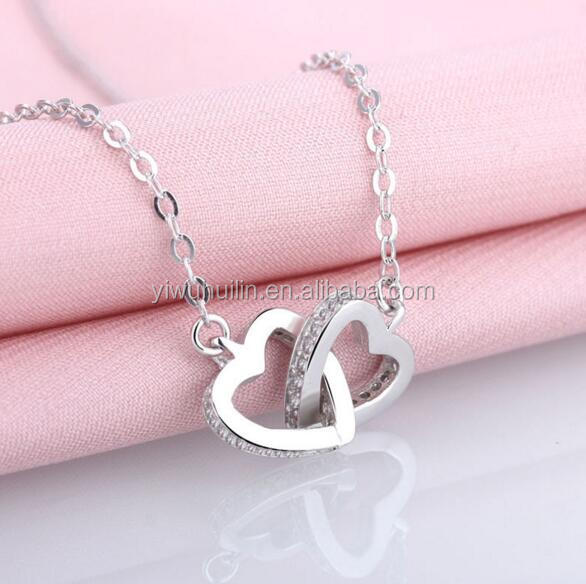 YFY111 Yiwu Huilin Jewelry Original Female Ornaments Double Heart crystal clavicle chain Korean necklace
