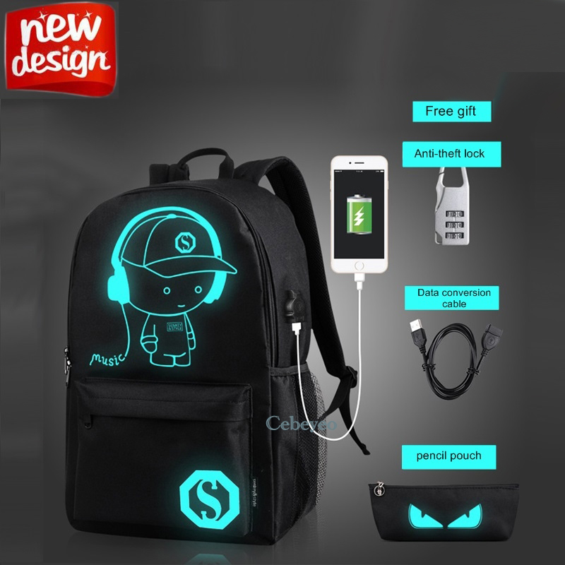 fashion travel laptop <strong>backpack</strong> Luminous cool bookbags Anti Theft sports <strong>backpacks</strong> with USB charging Port