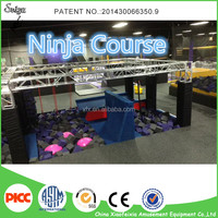 European Standard Trampoline Amusement Park With Ninja Warrior Obstacles