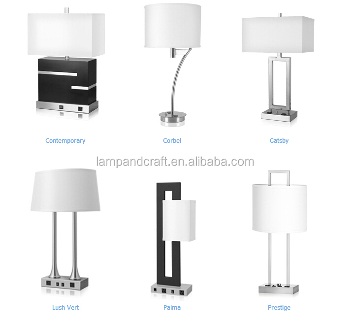 USA Modern Hotel Table Lamp With USB Port And Power Outlet