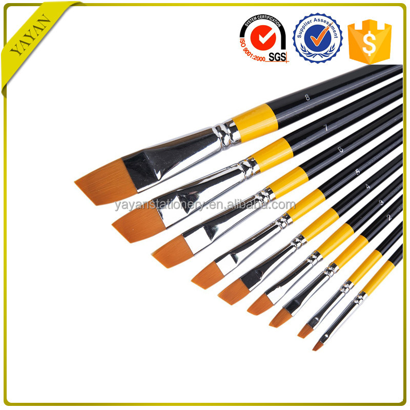 Free Sample 9pcs/set Angle Nylon Hair Watercolor Art Paintbrushes with China Manufacturer