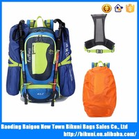 Waterproof nylon outdoor travel camping 45L external frame hiking backpacks bag with rain cover