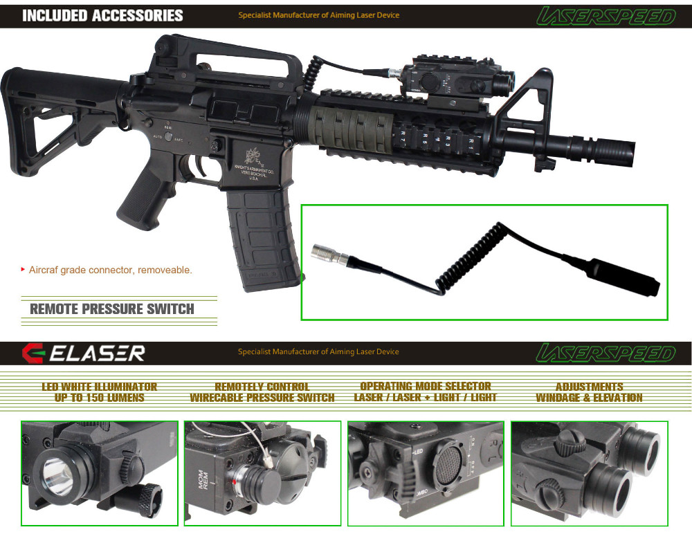 Tactical rifle 225lumen LED light and hunting green laser pointer combo