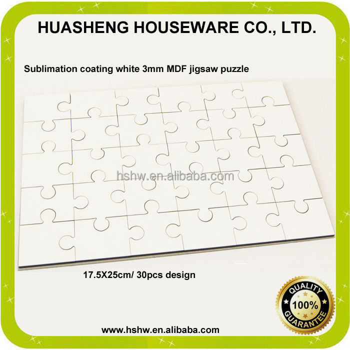 China manufacturer A4 sublimation blank mdf jigsaw