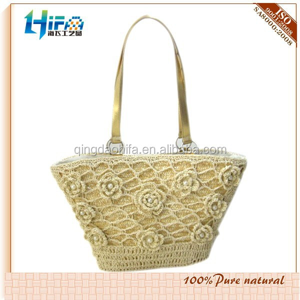 New style wheat straw shopping bag, baby girls beach bag cheap straw tote bags wholesale with flowers
