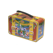 Custom Design Lunch Tin Box with Handle Christmas Gift Cookie Candy Tin Box with Lock and Key