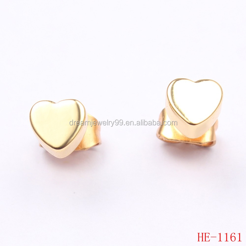 Delicate Earrings Design Silver/Gold/Rose Gold Plated Copper Heart Shaped Geometric Mini Gold Stud Wholesale