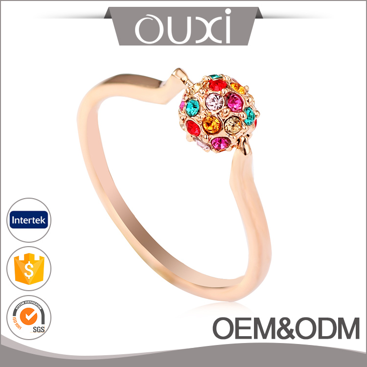 Hot sale fashion new design 18 rose gold plated with colorful Austria crystal beads wedding ring