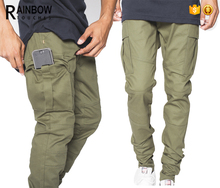 100% Cotton Skinny Olive Men Side Cargo Chino Pants