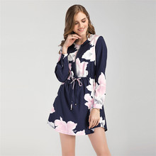 Spring Cheap Long Sleeve Zipper Floral Print Office Dress For Ladies