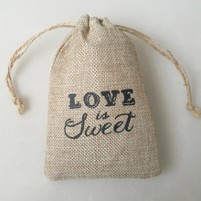 love is sweet jute drawstring on top gift bag for hair and industrial and household use