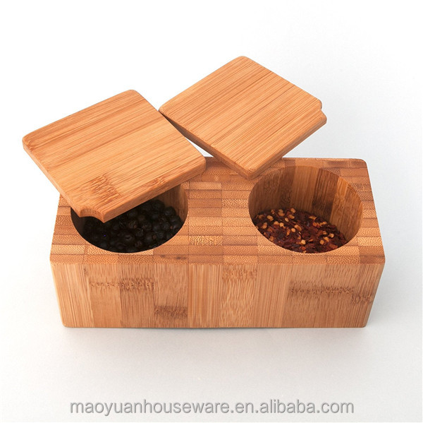 Totally Bamboo square Salt Box with removable lid Storing Dry Goods
