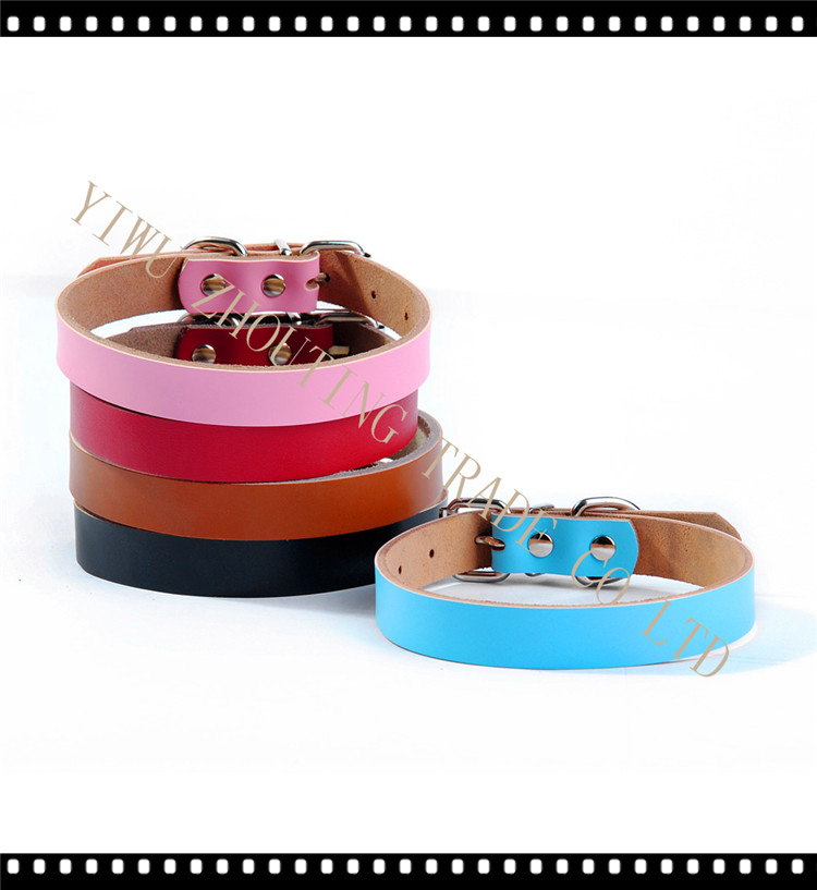 Leather pet collar Genuine leather dog collar OEM logo,pet accessories collar