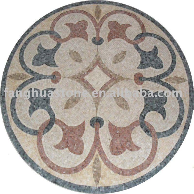 Western Inlay Floor Tile Circular Design : çiçek tasarım kiremit yuvarlak zemin mozaik madalyon