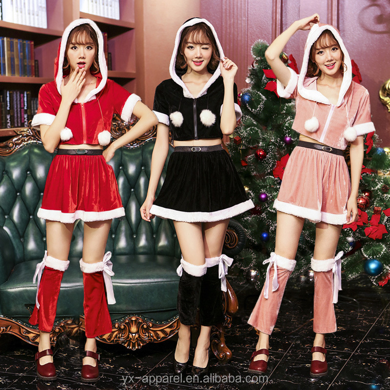white sexy christmas holiday santa dance party costumes cosplay fancy dress for ladies