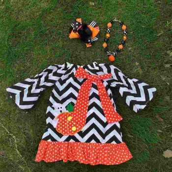 2015 new arrival girl pumpkin dress kids boutique dress halloween dress chervon dress with necklace and bow