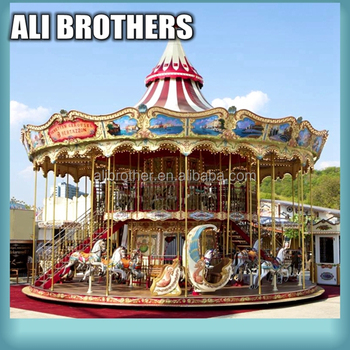 [Ali Brothers]Theme park carnival ride double deck carousel for sale