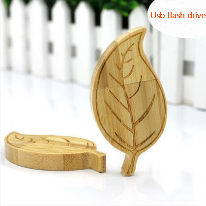 The Leaves Shaped Bamboo Usb Flash Drive with Engrave Logo