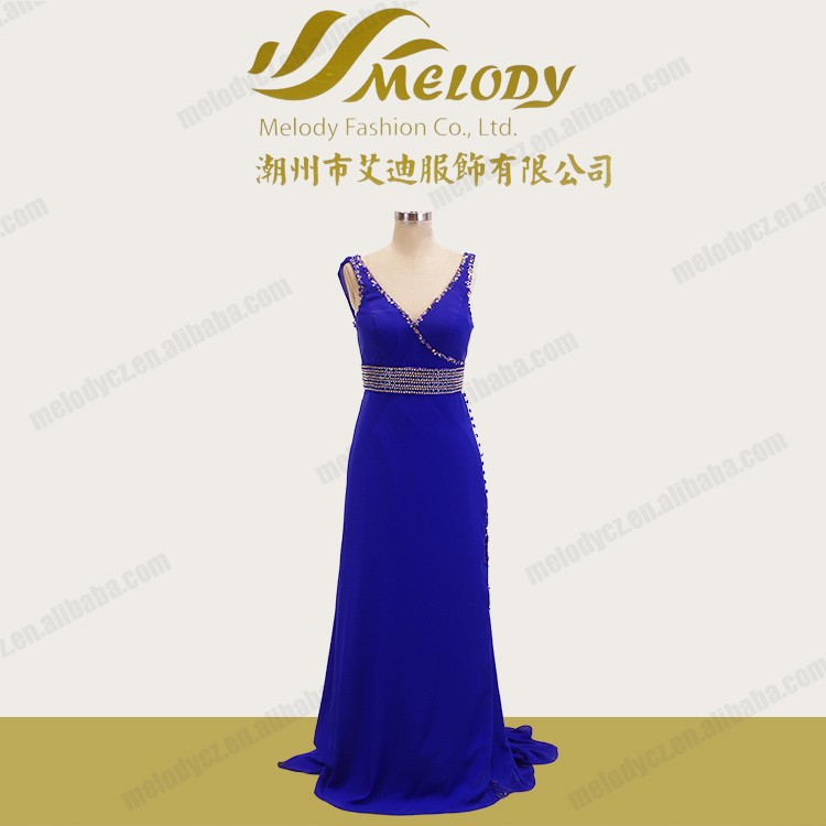 Royal blue chiffon beaded floor-length latest rhinestones prom dresses and shawl