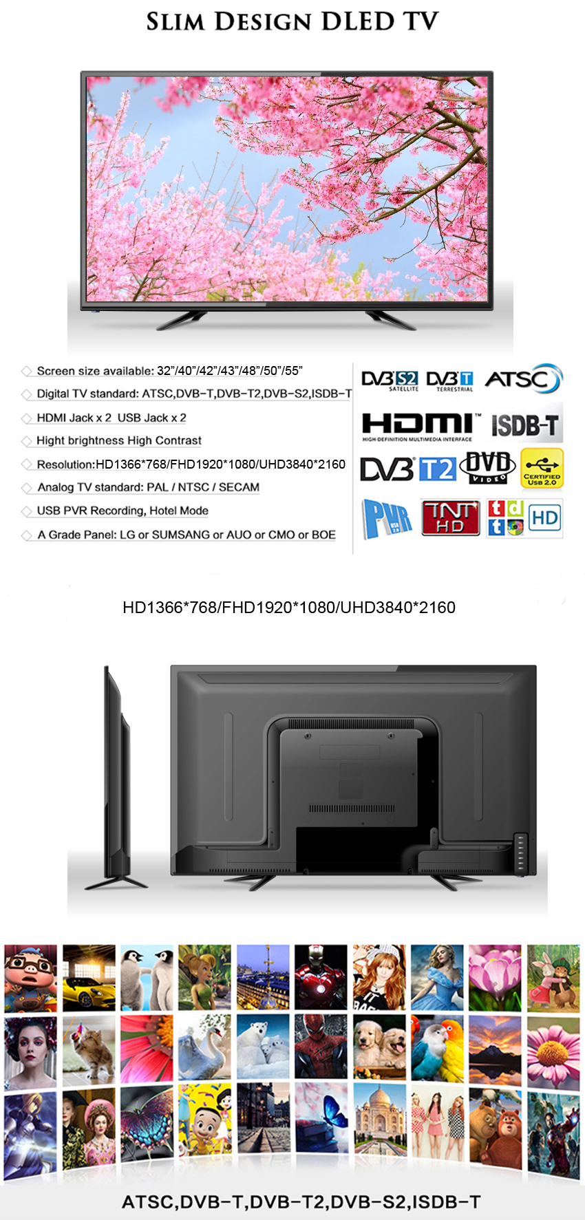 OEM Full HD Television smart tv led 32 52 inch led tv price