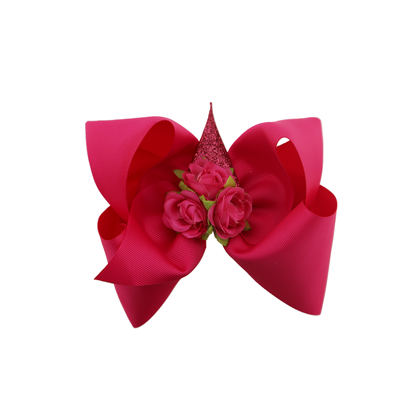 2018 New style design girl fashion flower unicorn hairpin solid color ribbon hair bow clip