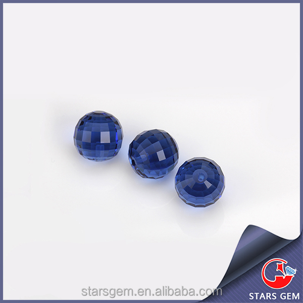 Round faceted glass beads dark blue glass beads with hole