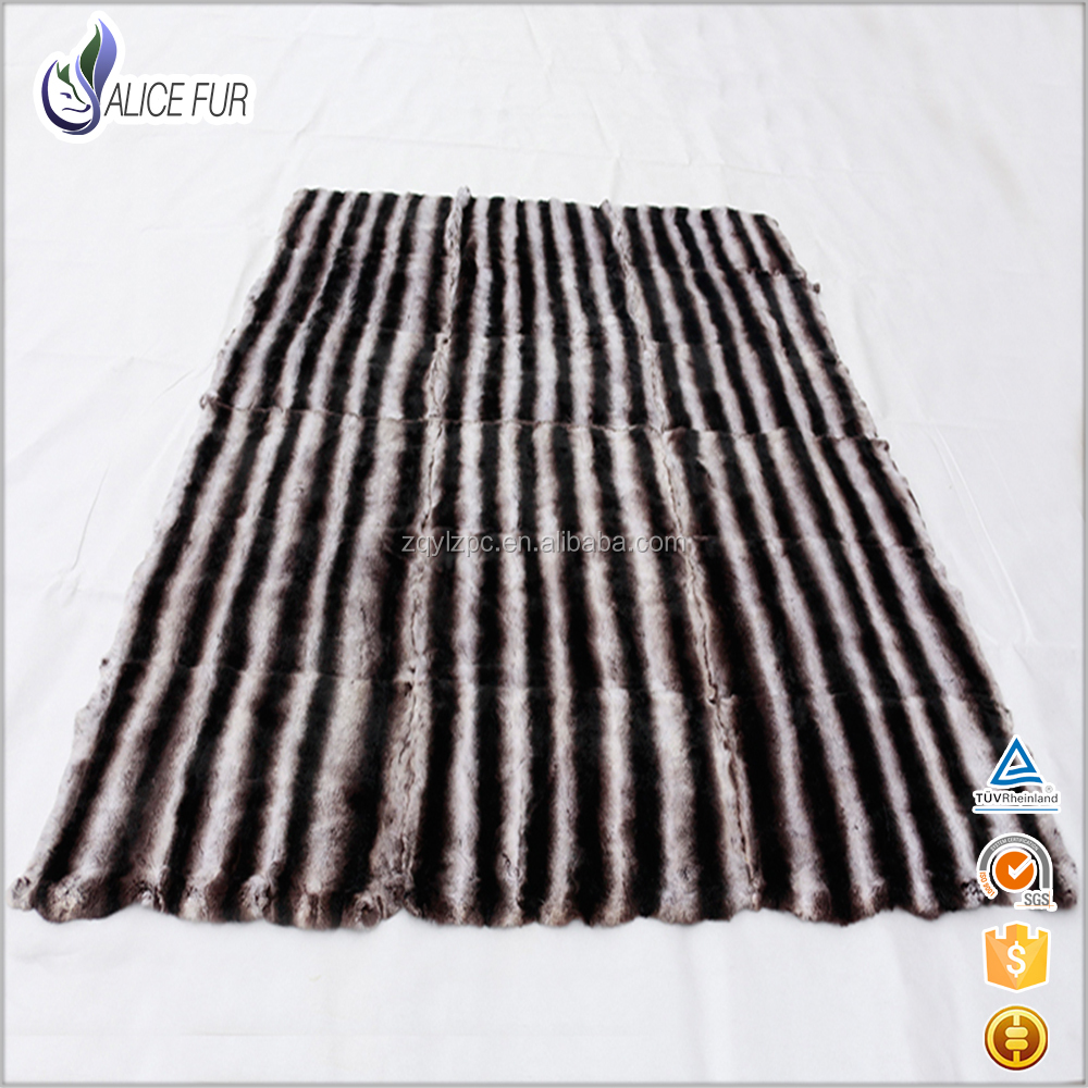 High Quality Chinchillas Rabbit Fur / Real Rex Chinchilla Fur / Rex Rabbit Fur Blanket With Factory Price