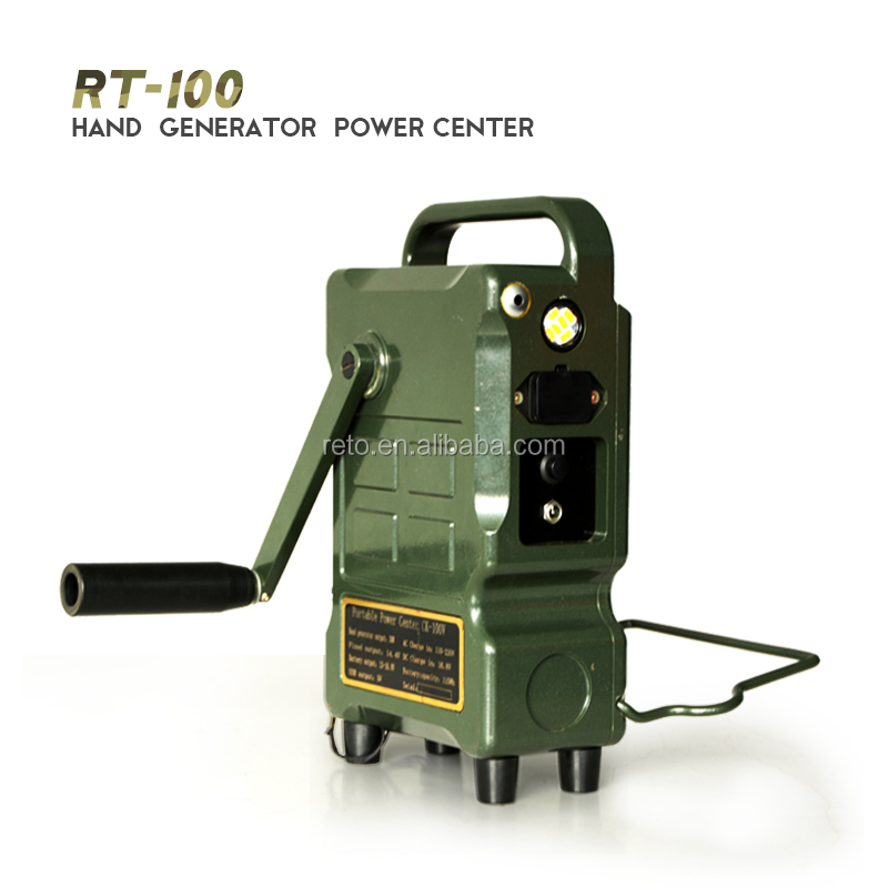 Hand crank generator power center for military use portabe power