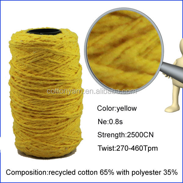 Ne 5s China manufacture open end recycled 100 cotton carded yarn for mop