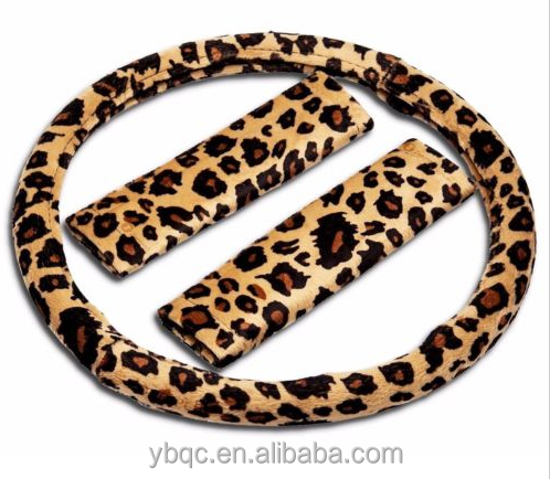 Animal Cheetah Design Car Steering Wheel Cover with Shoulder Pad