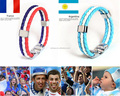 World Cup National Flag Italy ES DE RU Leather Bracelet for Men Women Rope Handmade Braided Wristband Jewelry